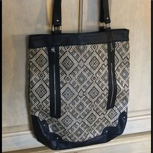 Icing tribal print black straw shoulder bag